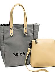 女性 バッグ オールシーズン キャンバス バッグセット 2個の財布セット パターン/プリント のために ショッピング カジュアル ホワイト ブラック グレー