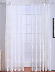 cheap -Rod Pocket Grommet Top Tab Top Double Pleat Curtain Casual Bohemian Modern, Embroidery Floral Bedroom Polyester Material Sheer Curtains