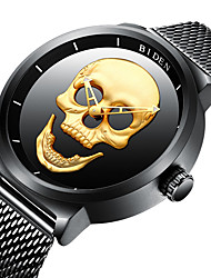 cheap -BIDEN Men's Wrist Watch Chinese Water Resistant / Water Proof / Cool / Skull Stainless Steel Band Vintage / Casual / Fashion Black