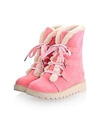 Feminino Sapatos Pele Nobuck Outono Inverno Botas de Neve Botas Ponta Redonda Botas Curtas / Ankle Para Casual Preto Amarelo Marron Rosa