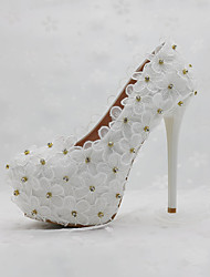 cheap -Women's Shoes PU Spring Fall Comfort Novelty Wedding Shoes Round Toe Applique Pearl For Wedding Party & Evening White