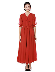 cheap -Women's Daily Going out Casual Street chic A Line Swing Dress,Solid V Neck Maxi Half Sleeve Cotton Polyester Spring Fall High Waist