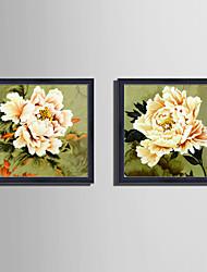 baratos -Botânico Floral/Botânico Vida Imóvel Quadros Emoldurados Conjunto Emoldurado Arte de Parede,PVC Material com frame For Decoração para casa