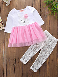 cheap -Girls' Color Block Embroidered Clothing Set, Cotton Rayon Polyester Summer All Seasons Long Sleeves Active Punk & Gothic Blushing Pink