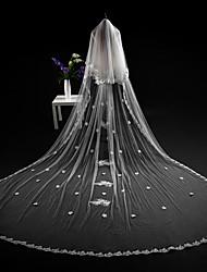 baratos -Duas Camadas Corte da borda Modern Véus de Noiva Véu Catedral Peça para Cabeça Com Apliques Renda Tule