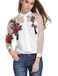 cheap -Women's Going out Street chic Shirt - Embroidery Shirt Collar