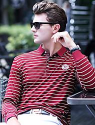 baratos -Homens Polo Moda de Rua Listrado Algodão Colarinho de Camisa