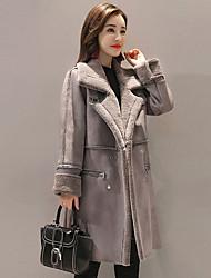 Недорогие -Для женщин На каждый день Зима Осень Пальто с мехом Рубашечный воротник,Простой Однотонный Длинная Длинные рукава,Искусственный мех
