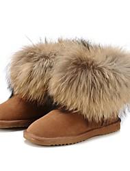 abordables -Mujer Zapatos Cuero Invierno Botas de nieve / Botas hasta el Tobillo / Forro de pelusa Botas Tacón Plano Dedo redondo / Punta cerrada
