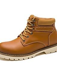 baratos -Homens sapatos Courino Outono Botas da Moda / Conforto Botas Preto / Castanho Claro / Castanho Escuro