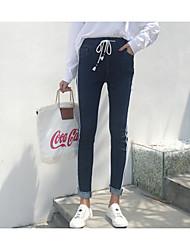 Feminino Simples Vintage Cintura Alta Micro-Elástica Justas/Skinny Chinos Calças,Justas/Skinny Chinos Listrado