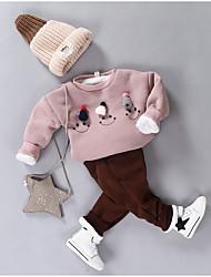 cheap -Girls' Solid Sleepwear,Cotton Long Sleeves Cartoon Blushing Pink Red