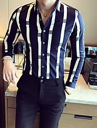 cheap -Men's Going out Vintage Fall Shirt,Striped Shirt Collar Long Sleeves Cotton Opaque