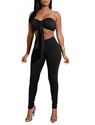 cheap -Women's Daily Going out Casual Sexy Set Pant Suits,Solid Backless Polyester