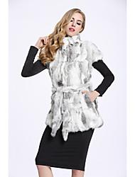 Feminino Colete Casual Sofisticado Outono Inverno,Estampa Colorida Padrão Pêlo de Coelho Colarinho Chinês Sem Manga