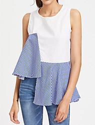 economico -T-shirt Da donna Per uscire Casual Romantico Moda città Autunno Primavera,Tinta unita Rotonda Elastene Senza maniche Medio spessore