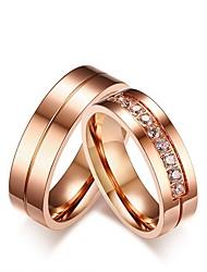 economico -Per uomo Per donna Fedine Anello di fidanzamento Zircone cubico Strass Dolce Elegant Zircone cubico Acciaio al titanio Gioielli Per