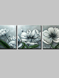 cheap -Hand-Painted Floral/Botanical Square,Simple Modern Three Panels Canvas Oil Painting For Home Decoration