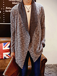 Men's Daily Wear to work Casual Long Cashmere,Solid V Neck Long Sleeves Acrylic Autumn Fall Thick strenchy