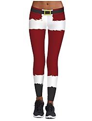 abordables -Disfraces de Santa Pantalones Mujer Navidad Festival / Celebración Disfraces de Halloween Amarillo Rojo Verde Beige Verde Oscuro Patrón