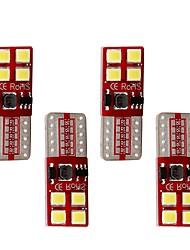 4pcs canbus t10 2835 8smd ha condotto la luce chiara di bianco dell'automobile / giallo / azzurro / colore rosso cuneo dc12v