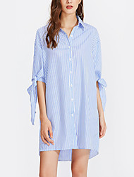 cheap -Women's Daily Holiday Loose Dress,Striped Shirt Collar Asymmetrical Half Sleeves Polyester High Waist Inelastic Thin