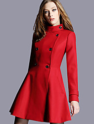 cheap -YHSP Women's Daily Going out Simple Casual Street chic Sophisticated Winter Fall Coat,Solid Regular Wool Polyester