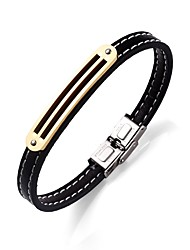 cheap -Men's Women's Bracelet Leather Bracelet Simple Elegant Stainless Steel Leather Round Heart Jewelry For Gift Going out