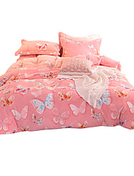 cheap -Duvet Cover Sets Animal 4 Piece Flannel Toison Reactive Print Flannel Toison 1pc Duvet Cover 2pcs Shams 1pc Flat Sheet