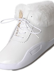 Women's Shoes PU Winter Comfort Boots Flat Heel Round Toe for Casual White Black