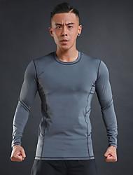 Men's Running T-Shirt Long Sleeves Trainer Fitness Compression Clothing for Running/Jogging Exercise & Fitness Elastane Polyster Black