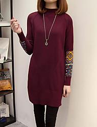 Tricot Robe Femme Décontracté / Quotidien Chic de Rue,Imprimé Col Roulé Mini Manches longues Coton Automne Hiver Taille haute Elastique