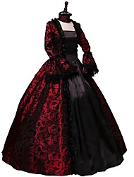 cheap -Party Costume Masquerade Steampunk® Elegant Lace-up Victorian Cosplay Lolita Dress Red Vintage Long Sleeves Dress For