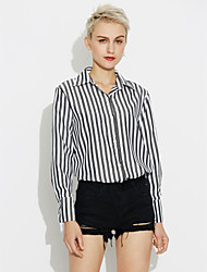 cheap -Women's Daily Casual Shirt,Striped Square Neck Long Sleeves Cotton Medium