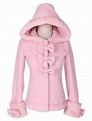 cheap -Winter Sweet Lolita Coat Princess Wool Women's Adults' Girls' Coat Cosplay Pink Long Sleeves
