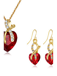 Women's Drop Earrings Pendant Necklaces Cubic Zirconia Classic Vintage Bohemian Hypoallergenic Statement Jewelry Silver Plated Glass