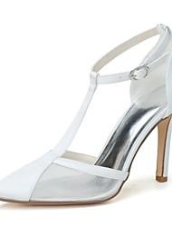 preiswerte -Damen Schuhe Netz Satin Frühling Sommer Pumps Hochzeit Schuhe Spitze Zehe Für Hochzeit Party & Festivität Weiß Blau Rosa