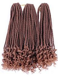 Drejede Fletninger 3 Dele Hårkrøller Afro Senegalese twist 45cm Syntetisk Hår Medium Brun/ Jordbær Blond Mellembrun Sort / Blå Sort /