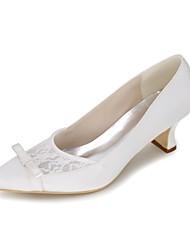 Недорогие -Для женщин Обувь Сатин Весна Лето Туфли лодочки Свадебная обувь Блочная пятка Квадратный носок Бант для Свадьба Для вечеринки / ужина