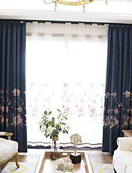 Pencil Pleat Double Pleat Grommet Top Curtain Contemporary , Floral Bedroom Polyester Blend Material Blackout Curtains Drapes Home