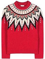 Damer Dagligdagstøj Normal Pullover Farveblok,Rund hals Langt Ærme Polyester Vinter Efterår Tyk Mikroelastisk