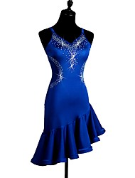 cheap -Shall We Latin Dance Dresses Women's Performance Spandex Crystals/Rhinestones Sleeveless Dress