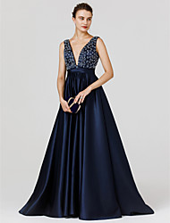 cheap -A-Line Princess V-neck Sweep / Brush Train Satin Formal Evening Dress with Beading Sash / Ribbon by TS Couture®
