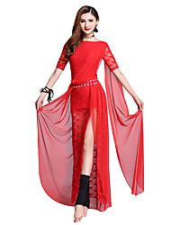 Dança do Ventre Vestidos Mulheres Apresentação Poliéster Renda Com Fenda Manga Curta Caído Vestidos