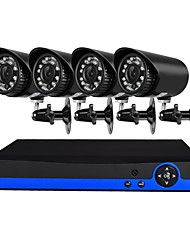 4 Channel Security Camera System with 4ch 1080N  AHD DVR 41.0MP Weatherproof Cameras with Night Vision