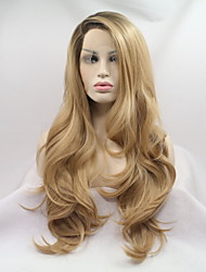 cheap -Sylvia Synthetic Lace front  Water Wave Light Blonde Party Wig Halloween Wig Carnival Wig Natural Wigs Costume Wig