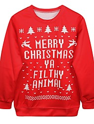 cheap -Santa Suit Ugly Christmas Sweater / Sweatshirt Female Christmas Festival / Holiday Halloween Costumes Red Printing