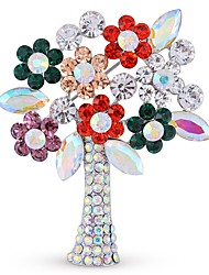 Homens Mulheres Broches Diamante sintético Simples Imitações de Diamante Liga Árvore da Vida Jóias Para Diário