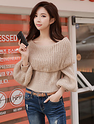 cheap -Women's Daily Going out Casual Street chic Knitting Solid Boat Neck Sweater Pullover, Long Sleeves Winter Fall
