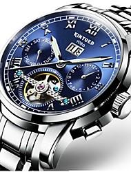 Недорогие -Муж. Механические часы С автоподзаводом Черный / Серебристый металл 30 m Защита от влаги Календарь Секундомер Роскошь На каждый день Мода - Синий Черный / Синий Белый / синий / Нержавеющая сталь